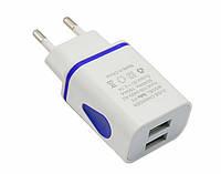 Универсальное зарядное устройство, сетевой адаптер на 2 USB порта 1.5A, подстветка корпуса, цвет белый, фото 1
