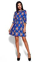 Синее платье с цветочным принтом, фото 1