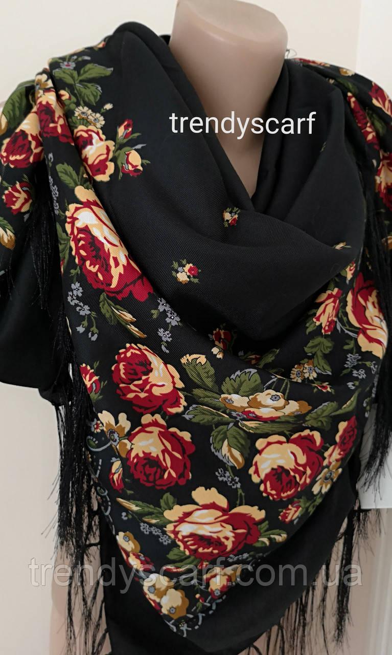 Женский Павлопосадский платок шерстяной.Черный бордовый зеленый бежевый Цветы розы с шелковой бахрамой140\140