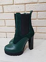 Зимние ботинки женские на каблуке в 4х цветах 1997 кожа/мех, фото 1