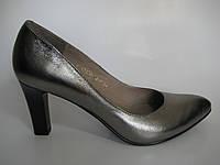 Кожаные женские туфли серебристого цвета ТМ Камея