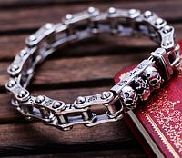 Мужской серебряный браслет байкерский Мото Черепа 20,5 см 53,8 грамм