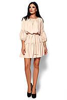 Короткое бежевое платье с оборкой , фото 1