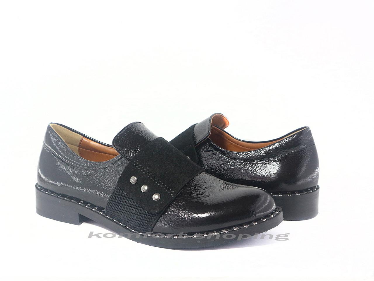 Туфли  женские лаковые,  черные V 1199