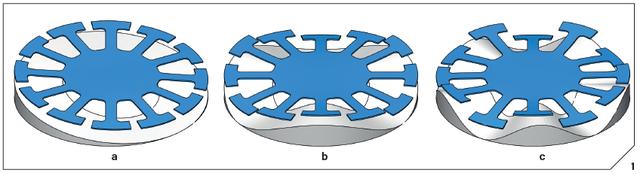 Три кратности возбуждения двигателя упрощенных монолитных дисков с лопатками (синий цвет) с полями давления (серый цвет)