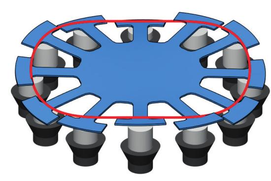 Стационарный монолитный диск с лопатками