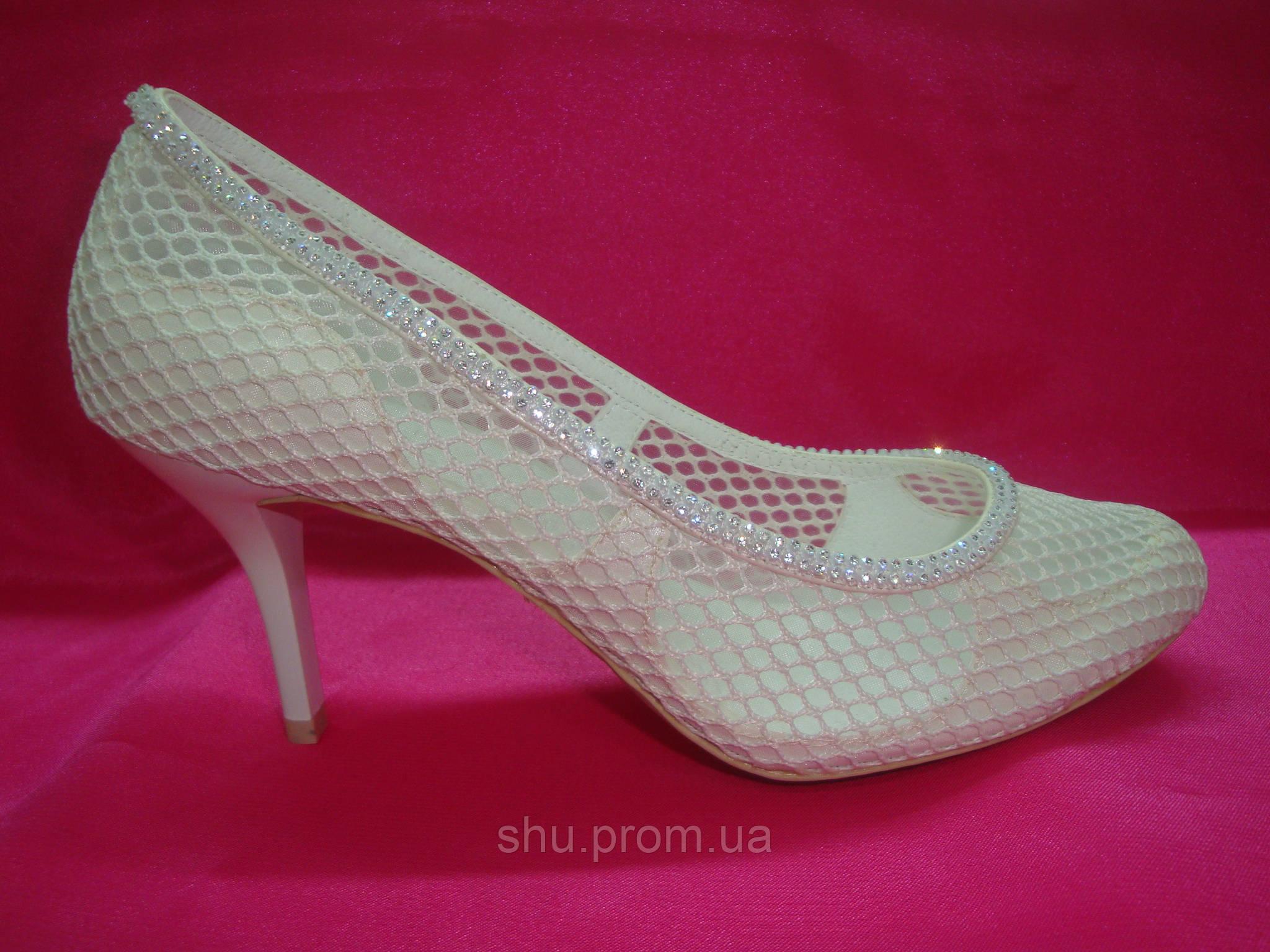 67b09dd86159 Свадебные летнии туфли айвори сеточка - Интернет магазин «Шузы для невесты»  в Киеве