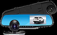 Відеореєстратор дзеркало з камерою заднього виду 2 камери DVR Full HD (екран праворуч від водія!), фото 1