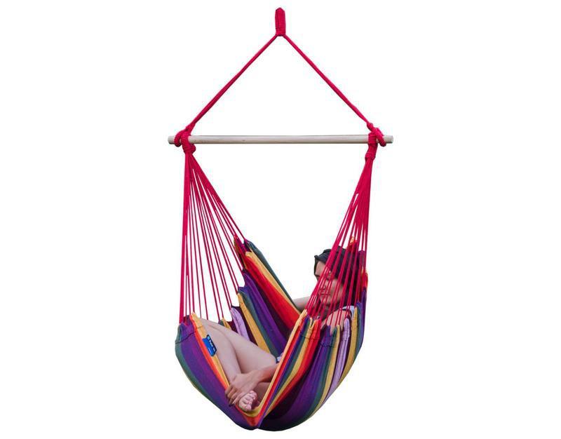 Подвесное кресло-гамак, подвесная качель XL (130х100см) . Цветной.