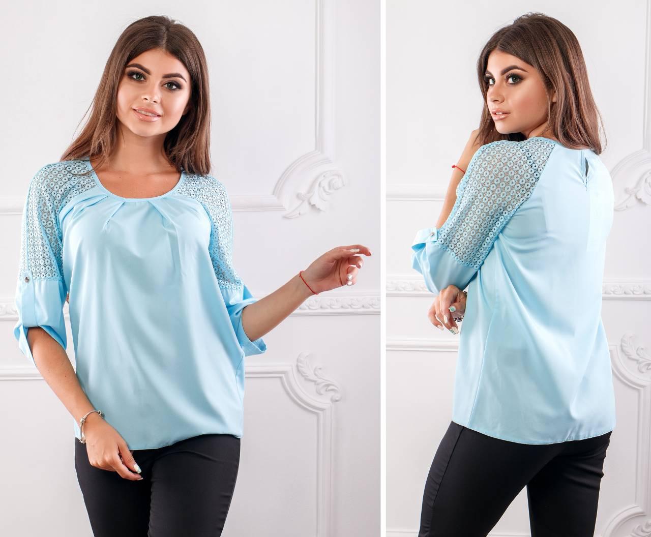 Блузка с кружевными вставками ( арт.117),ткань бенгалин+кружево, цвет голубой