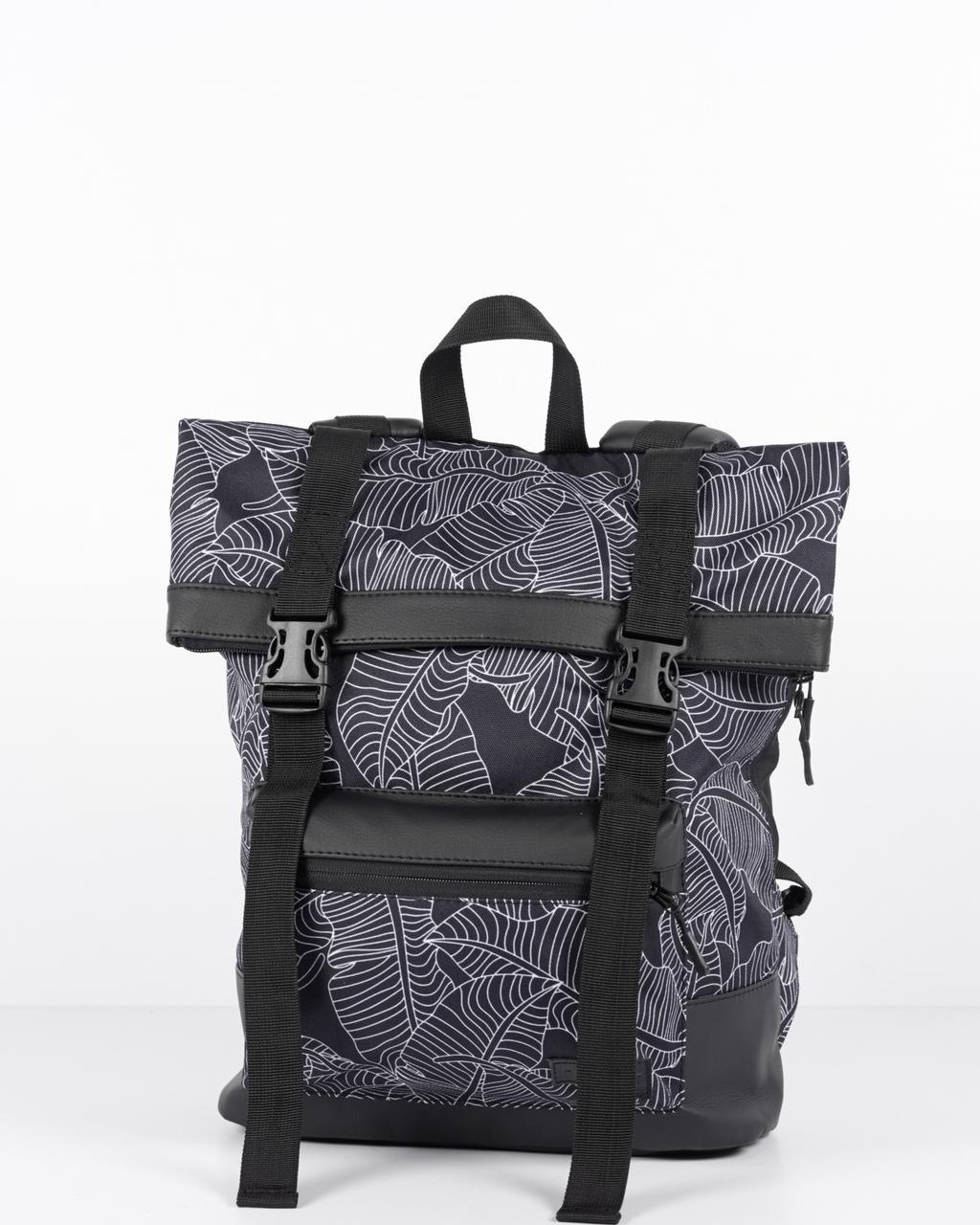 Міський рюкзак HARVEST Roll BL LEAVES ролтоп листя 40x29x11 см. 18-21 л. поліестр екошкіра