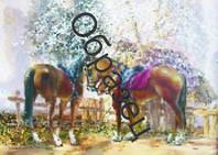 """Схема для вышивки нитками """"Лошади"""""""