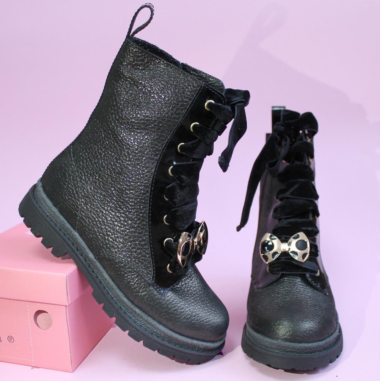 Высокие кожаные ботинки на девочку с бархатными шнурками тм Олтея р.30,31,33, фото 1