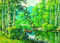 """Схема для вышивки нитками """"Река в лесу"""""""