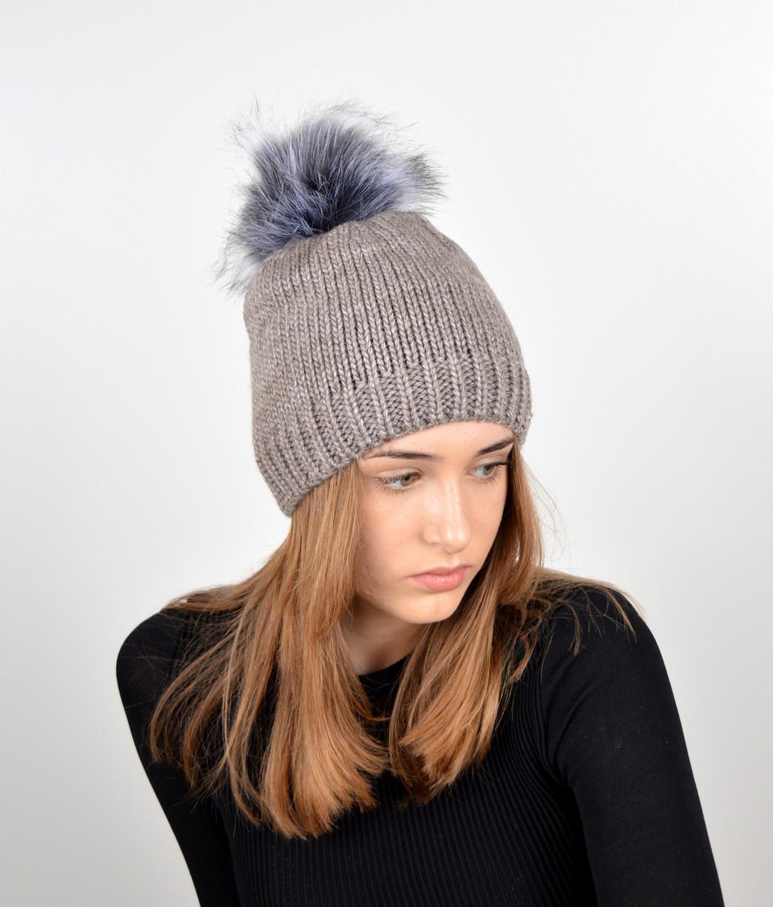 Женская шапка с помпоном 3348 капучино