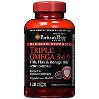 Puritan's Pride Triple Omega 3-6-9 Fish, Flax & Borage Oils 120 softgels