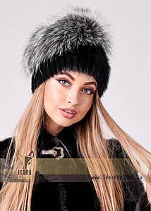 Жіноча хутрова шапка з розкішним хутряним ковпаком з чорнобурки