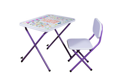 Парта со стульчиком складная регулируемая фиолетовая