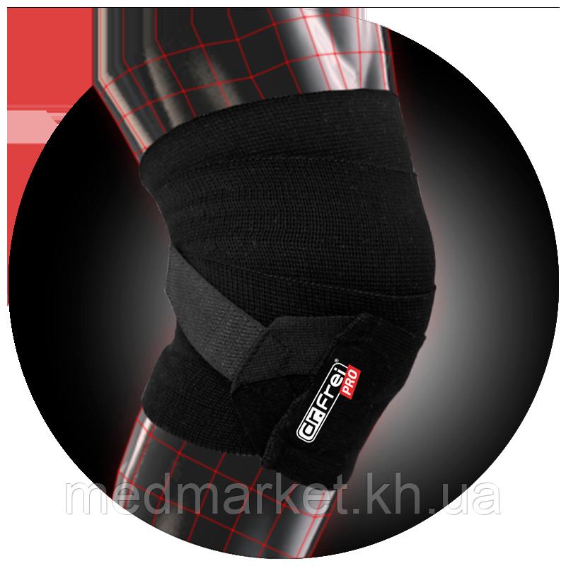 Бинт эластичный Dr. Frei Sport на коленный сустав с системой легкой фиксации S02x80x1, S02x80x3