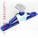 Плечики металические в силиконовом покрытии , длина 40 см, Вешалки синего цвета.
