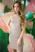 Платье женское летнее бежевого цвета по фигуре, платье нарядное со шнуровкой по бокам