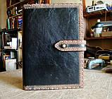 Обложка блокнота скетчбука ежедневника в коже ручная работа подарок, фото 4