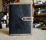 Обложка блокнота скетчбука ежедневника в коже ручная работа подарок, фото 7