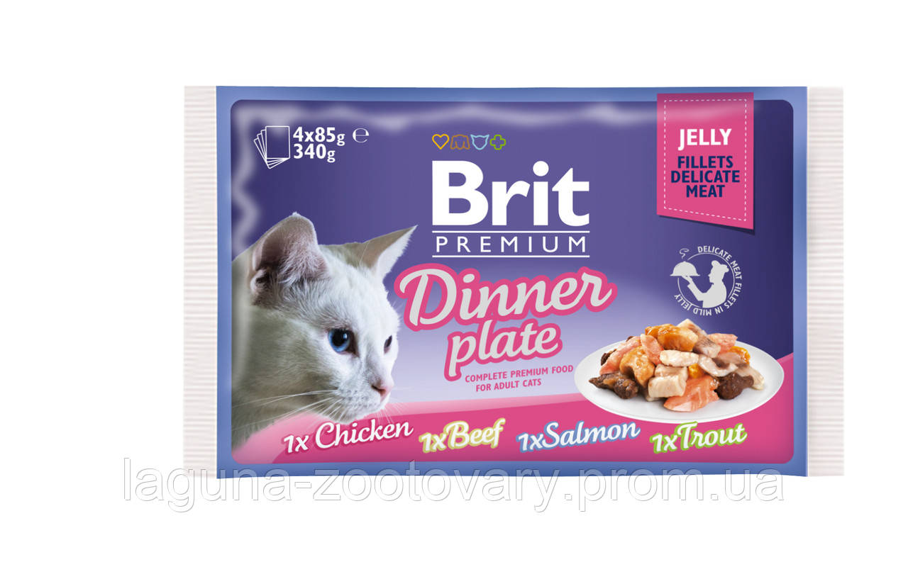Brit Premium Cat pouch 4шт х 85g обеденная тарелка в желе
