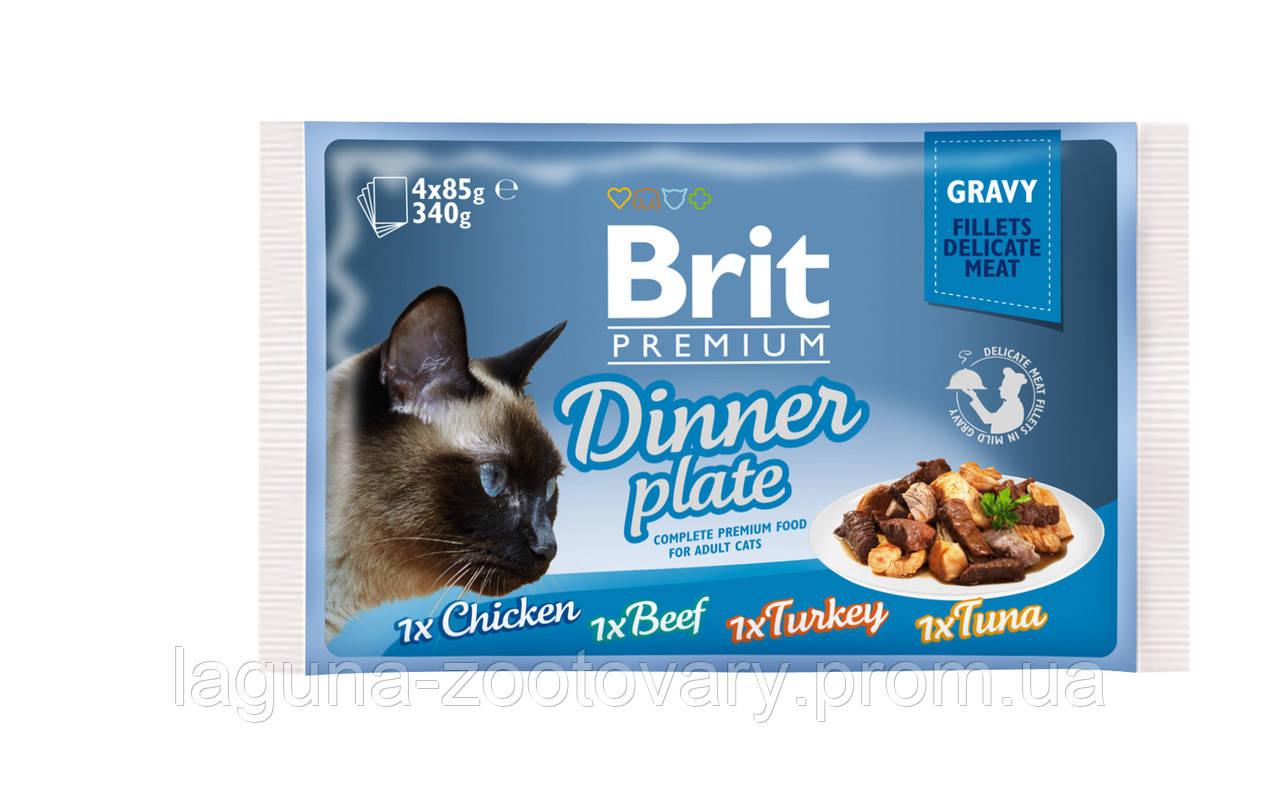 Brit Premium Cat pouch 4шт х 85g обеденная тарелка в соусе