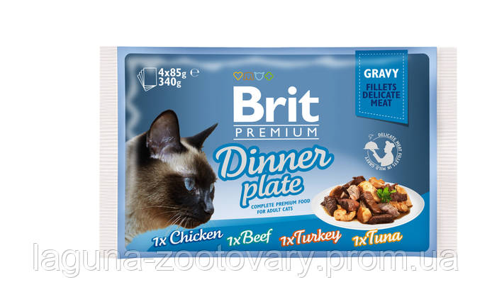 Brit Premium Cat pouch 4шт х 85g обеденная тарелка в соусе, фото 2