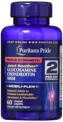 Хондропротектор Puritans Pride Triple Strength Glucosamine Chondroitin MSM (60 таб), фото 2