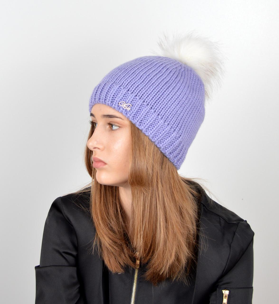 Женская шапка с помпоном 3348 лаванда