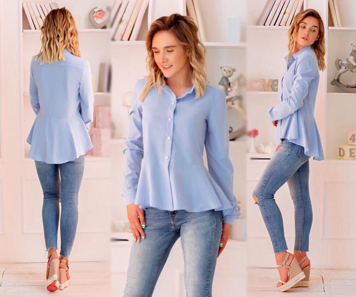 """Стильная женская блузка-рубашка 345 """"Софт Баска"""""""