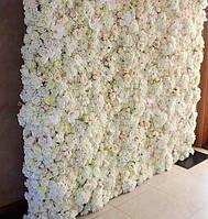 Фотозона из цветов пастельных белая и ткань искусственный размер 60*40см, фото 3