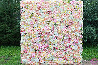 Фотозона из цветов пастельных белая и ткань искусственный размер 60*40см, фото 4