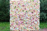 Фотозона из цветов розовые полиуретан и ткань искусственный размер 60*40см, фото 4