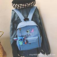 Рюкзак Стич цвет голубой игрушка  Стич в подарок