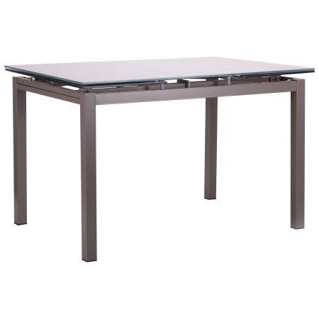 Стол обеденный раскладной Мишель B179-34 серый/стекло платина