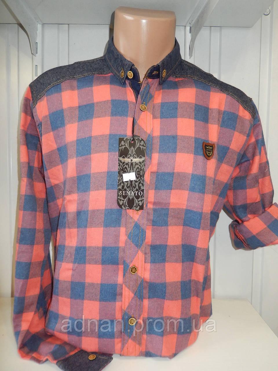 Рубашка мужская SENATO длинный-короткий рукав, полу-кашемир, клетка  001\ купить рубашку