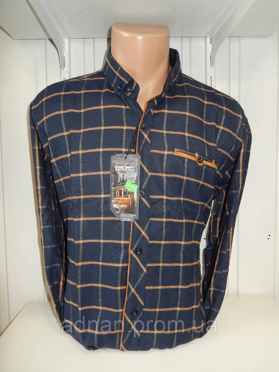 Рубашка мужская SENATO длинный рукав, полу-кашемир, клетка  001\ купить рубашку