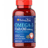 Puritan's Pride Coated Omega-3 Fish Oil 1200 mg 200 softgels