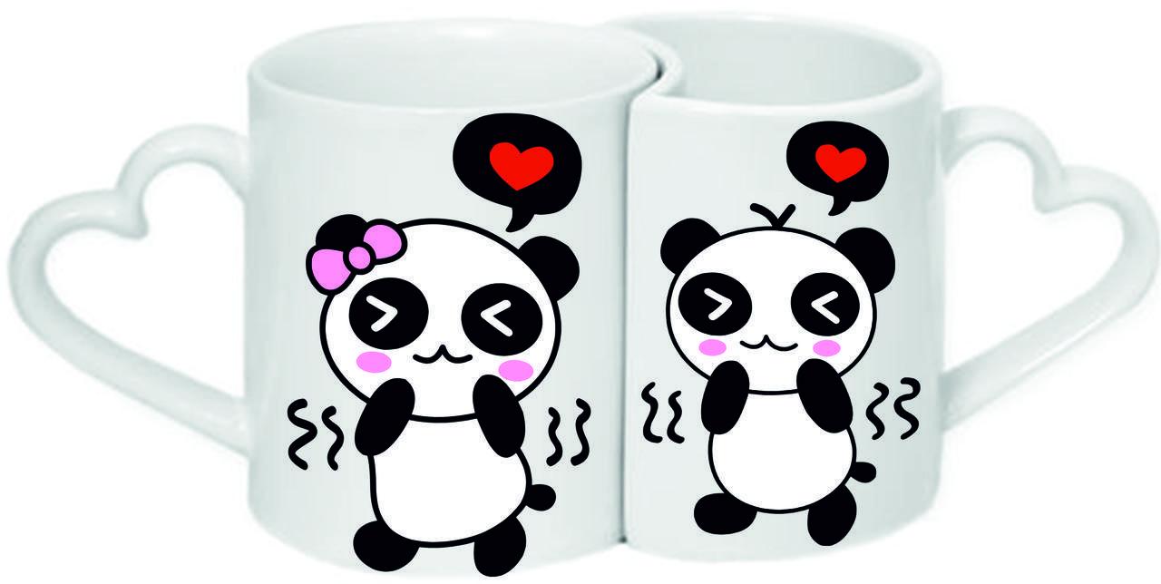 """Парные чашки """"Влюбленные панды"""""""