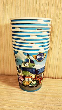 Детские праздничные стаканчики  Поли Робокар 10 шт