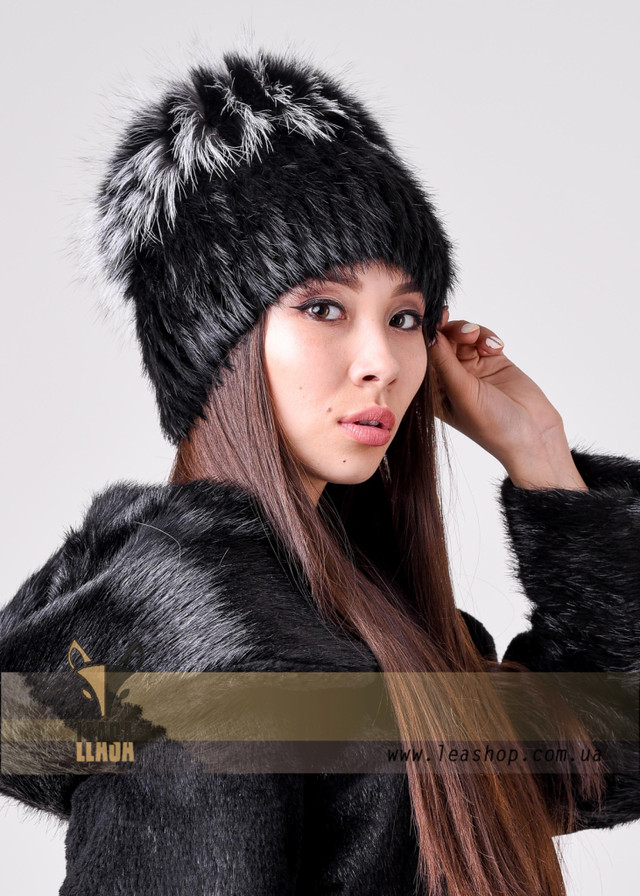 Женская меховая шапка сноп из натурального меха ФОТО