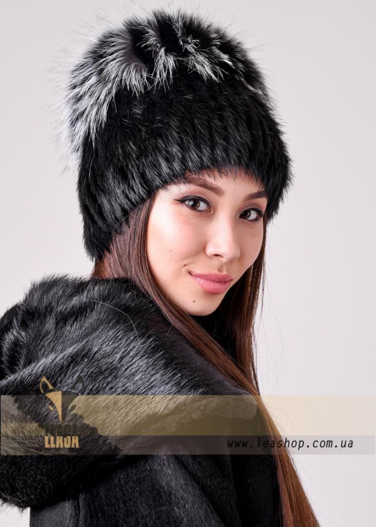 Зимняя женская меховая шапка ананас