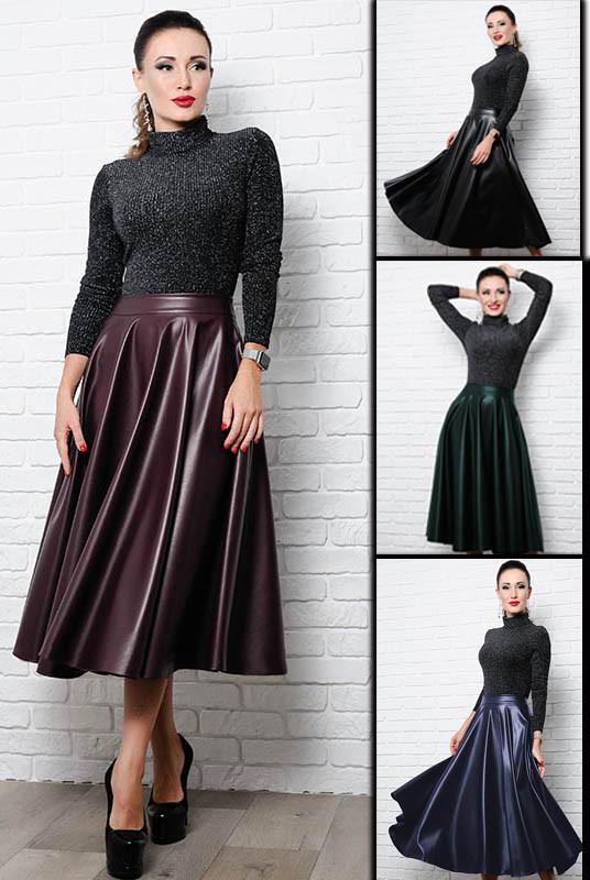Женская расклешенная юбка Мелисса экокожа