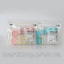 7 в 1 портативный набор мини-емкостей для косметики и других средств(в дорогу) + зип-пакет (розовый/голубой)