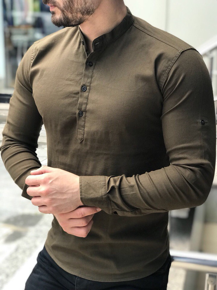 219e70d6635 Стильная мужская рубашка Slim Fit оливковая  продажа