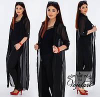 Женский костюм брюки + кардиган цвета в ассортименте Батал, черный 50 р.