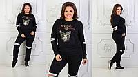 Женский спортивный костюм Гуччи Gucci ткань турецкая двух нитка высокого качества до 54 размера черный, фото 1